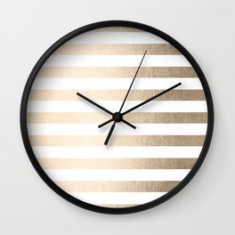 Simply Striped in White Gold Sands Wall Clock