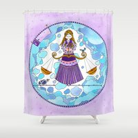 libra Shower Curtains featuring Libra by Sandra Nascimento