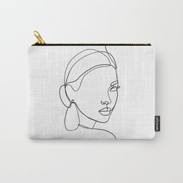 Abstract woman face line drawing Carry-All Pouch