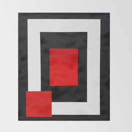 Geometric Abstraction - Red Throw Blanket