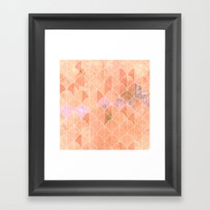 Mermaid scales. Peach and pink watercolors. Framed Art Print