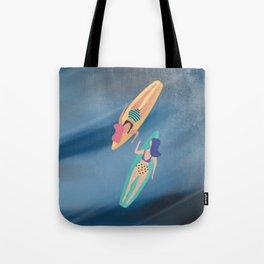 Surf Sisters - Muted Ocean Color Girl Power Tote Bag