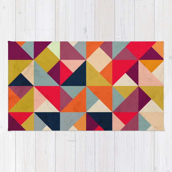 Bright Geometric Happy Pattern Rug