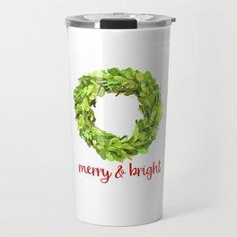 Merry & Bright Christmas Boxwood Wreath Travel Mug