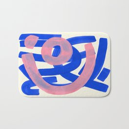 Tribal Pink Blue Fun Colorful Mid Century Modern Abstract Painting Shapes Pattern Bath Mat