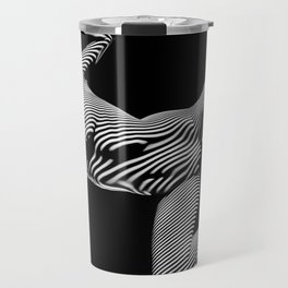 8431-KMA BW Striped Art Nude Woman Open Free Empowered Travel Mug