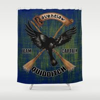 ravenclaw Shower Curtains featuring Ravenclaw team captain quidditch by JanaProject