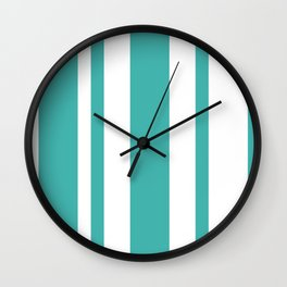 Mixed Vertical Stripes - White and Verdigris Wall Clock