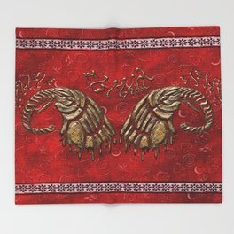 African elephant with ethnic motives V6 V WH Throw Blanket
