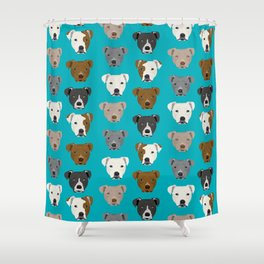 Pitbull faces dog art dog pattern pitbulls cute gifts for rescue dog owners Shower Curtain