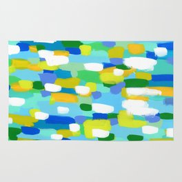 Meet Me In The Woods - blue abstract painting white mint green brush lines pattern Rug