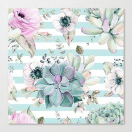 Succulent Garden Striped Succulent Blue Canvas Print