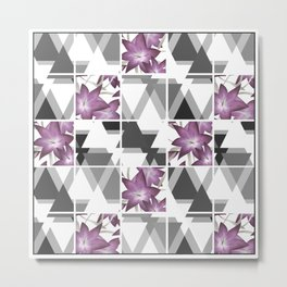 Pink lilies on a cramped gray background triangles . Metal Print