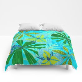 My blue abstract Aloha Tropical Jungle Garden Comforters
