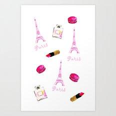 I Love Paris Pattern Art Print