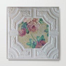 Antique Ceiling Tile * Art tile * Victorian Roses Metal Print