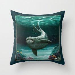 """Hawaiian Monk Seal"" by Amber Marine ~ Acrylic Painting, (Copyright 2015) Throw Pillow"