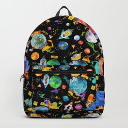 Watercolor Dinosaur Space Construction Backpack