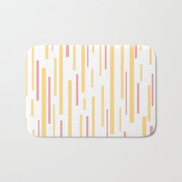Interrupted Lines Mid-Century Modern Pattern in Mustard Yellow, Bright Pink, and White Bath Mat