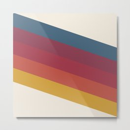 Manat - Colorful Classic Abstract Minimal Retro 70s Style Stripes Design Metal Print