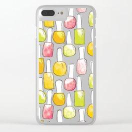 Nail Polish | Yellow Green Peach Pattern Clear iPhone Case