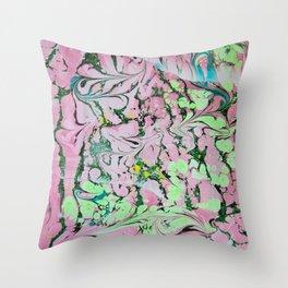 Pistachio Switchbacks marbleized print Throw Pillow