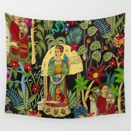 The  Coyoacán Mexican Garden of Casa Azul - Lush Tropical Greenery and Floral Landscape Painting Wall Tapestry