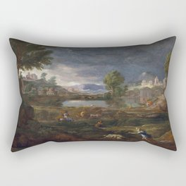 Nicolas Poussin - Landscape during a Thunderstorm with Pyramus and Thisbe Rectangular Pillow