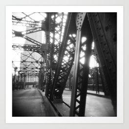 Kinzie Street Bridge 02- Chicago, Holga Art Print