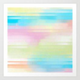 Summer Pastel Glitch Stripe Design Art Print