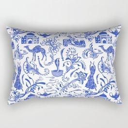 Arabian Nights // China Blue Rectangular Pillow