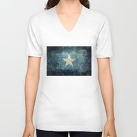 islam V-neck T-shirts featuring Somalian national flag - Vintage version by Bruce Stanfield