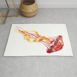 Jellyfish, Red, orange, Yellow design Rug