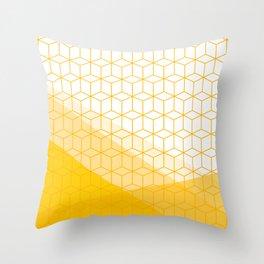 Abstract Geometric 006 - mustard yellow & white Throw Pillow