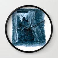 peter pan Wall Clocks featuring peter pan by jenapaul