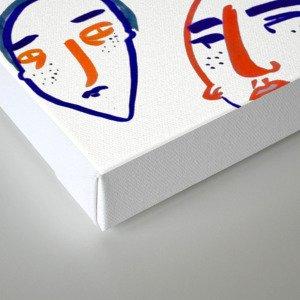 head, faces, face print, face art, people illustration, Canvas Print