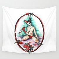harley quinn Wall Tapestries featuring Harley Quinn by MissShota