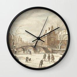 Ice fun on the corner of Spui and Nieuwezijds Voorburgwal, Anthonie van den Bos, after Jan van Kesse Wall Clock