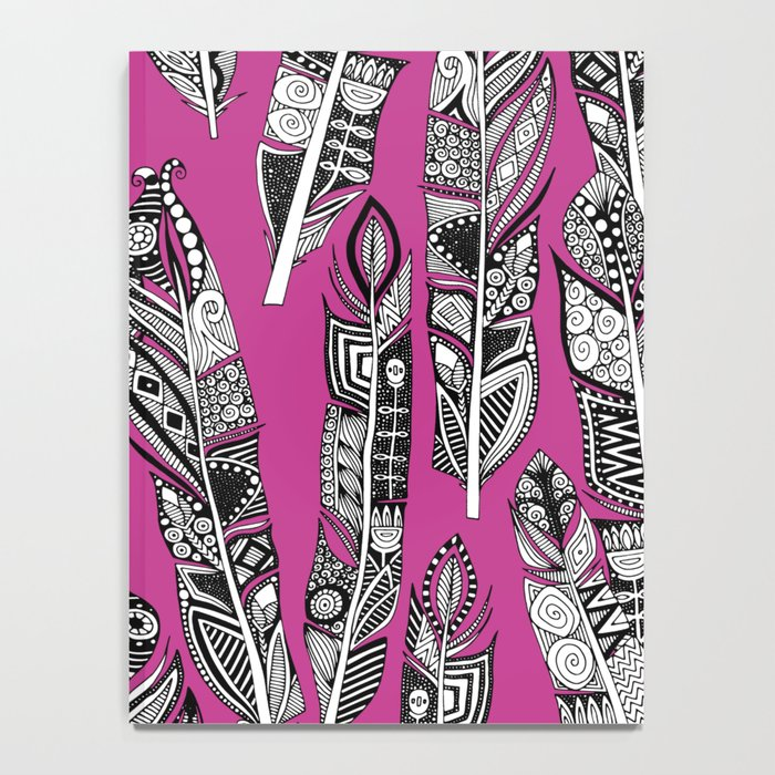 geo feathers hot pink Notebook