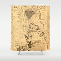 battlefield Shower Curtains featuring Vintage Map of The Gettysburg Battlefield (1863) 2 by BravuraMedia