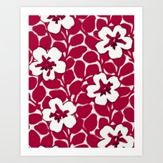 Painted Floral Red Art Print