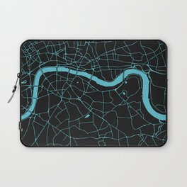 Black on Turquoise London Street Map Laptop Sleeve