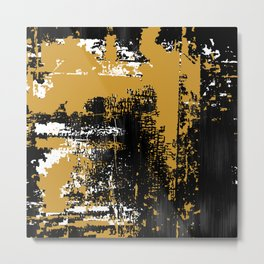 Grunge Paint Flaking Paint Dried Paint Peeling Paint Black White Gold Metal Print