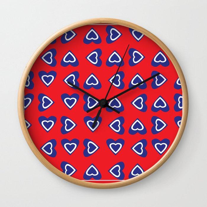 July 4th Hearts-USA Wall Clock