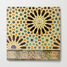 """Mexuar room"". Details in The Alhambra Palace.  Metal Print"