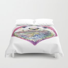 HedgeHog Heart by Michelle Scott of dotsofpaint studios Duvet Cover