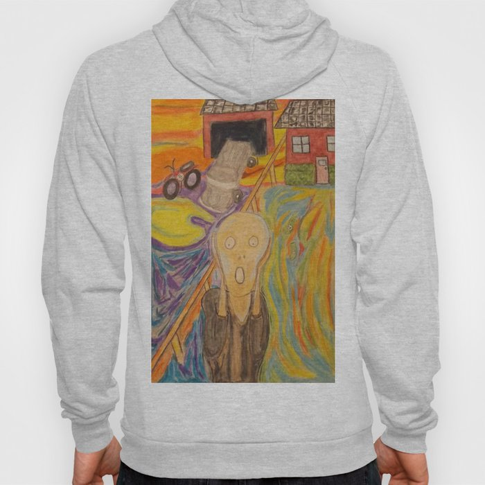 The Scream Personified a watercolor painting Hoody