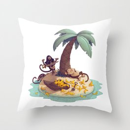 Monkey Desert Island Throw Pillow