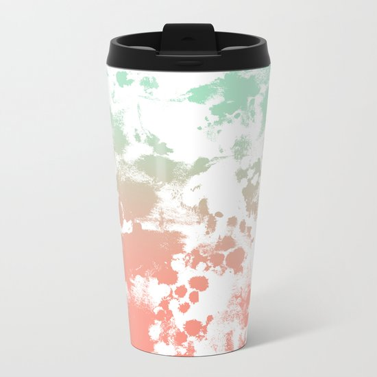 Abstract minimal ombre fade painted trendy modern color palette Metal Travel Mug