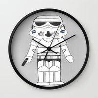 storm trooper Wall Clocks featuring Storm Trooper by The Naptime Artist